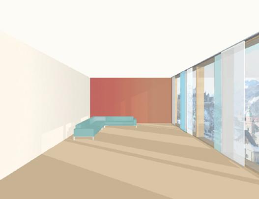 Mit einer kontrastierenden farbigen Wand kann ein langer